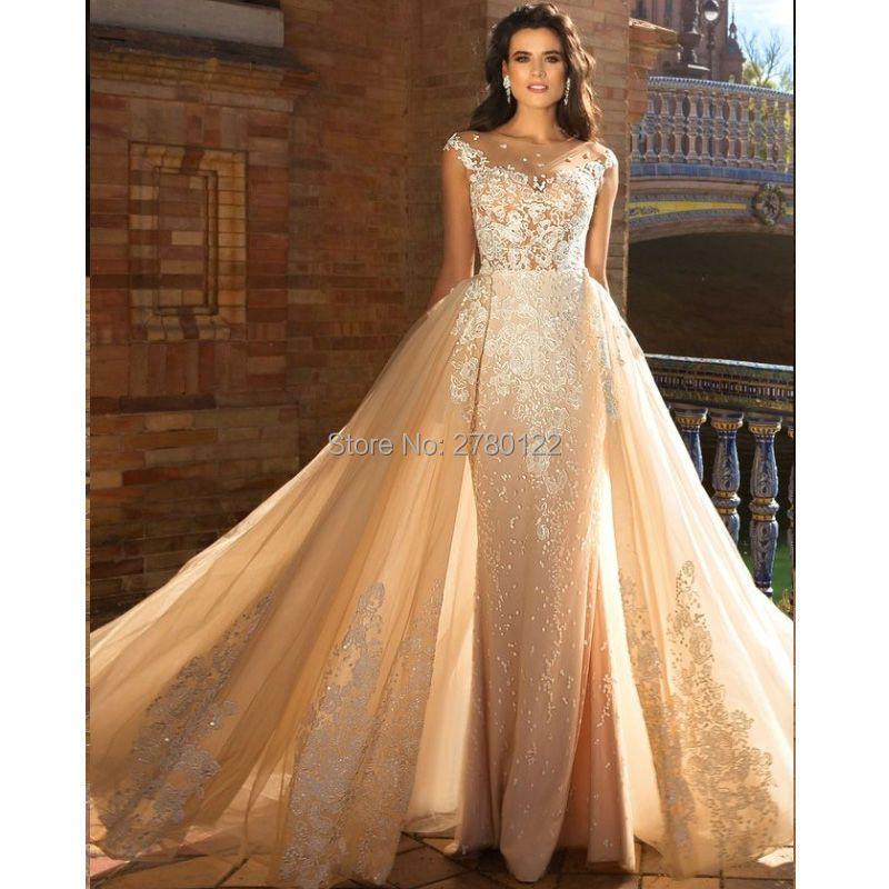 Dubai Abnehmbare Zug Meerjungfrau Hochzeit Kleider 2019 robe de mariage Champagne Applique vestido de noiva Overskirts Brautkleider