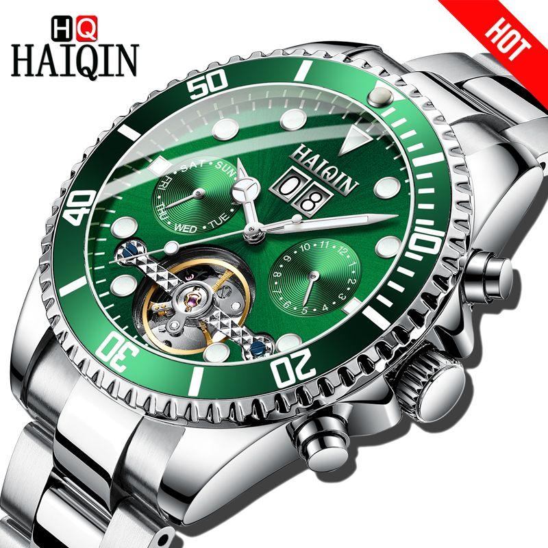 HAIQIN Marke Luxus Männer Uhr Mechanische Bussiness stahl Uhr sport Wasserdichte Armbanduhr Tourbillon Reloj mecanico de hombres
