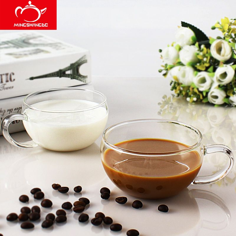 250ml*2pcs Glass Cup Set Home belly thickened coffee cups a pair of transparent coffee mugs lovers' mugs explosion-proof glass