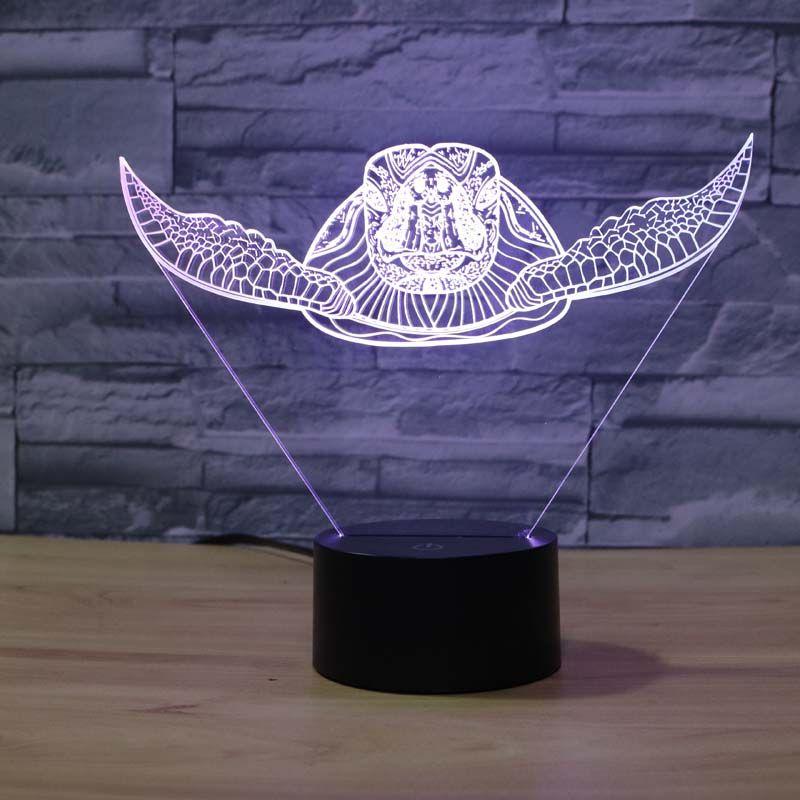7 couleurs changeantes tortue de mer veilleuse lampes 3D tactile veilleuse adulte