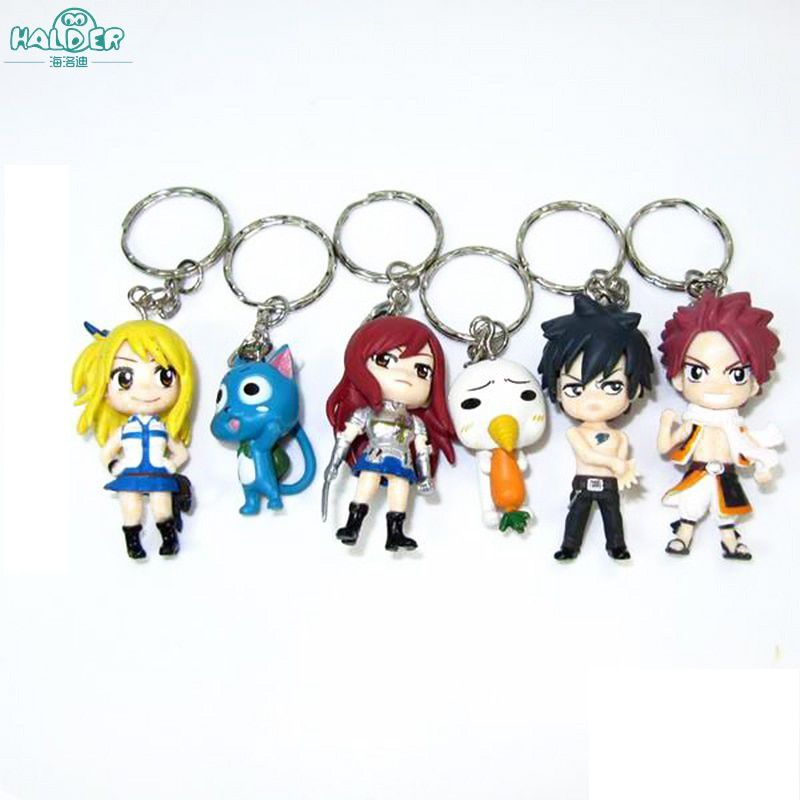 Halder Fairy Tail Figures Anime Charms Key Chains Etherious Natsu Dragneel Gray Fullbuster Trinkets Accessories Gadgets Keychain