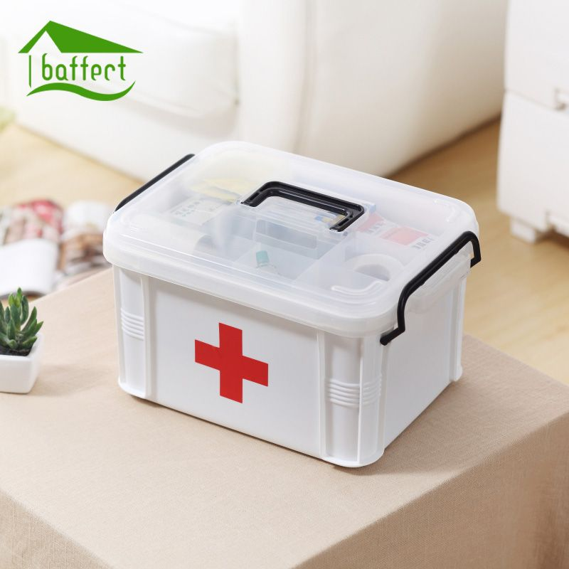 Hot Medicine Box <font><b>First</b></font> Aid Kit Box Plastic Storage Box Drug Container Emergency Kits Large Capacity Storage Medicine Organizer