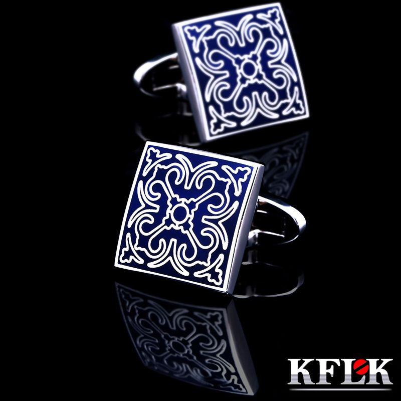 KFLK bijoux shirt De Mode bouton de manchette pour hommes Marque Manchette lien Gros Bouton bleu Haute Qualité De Luxe De Mariage Mâle Livraison Gratuite