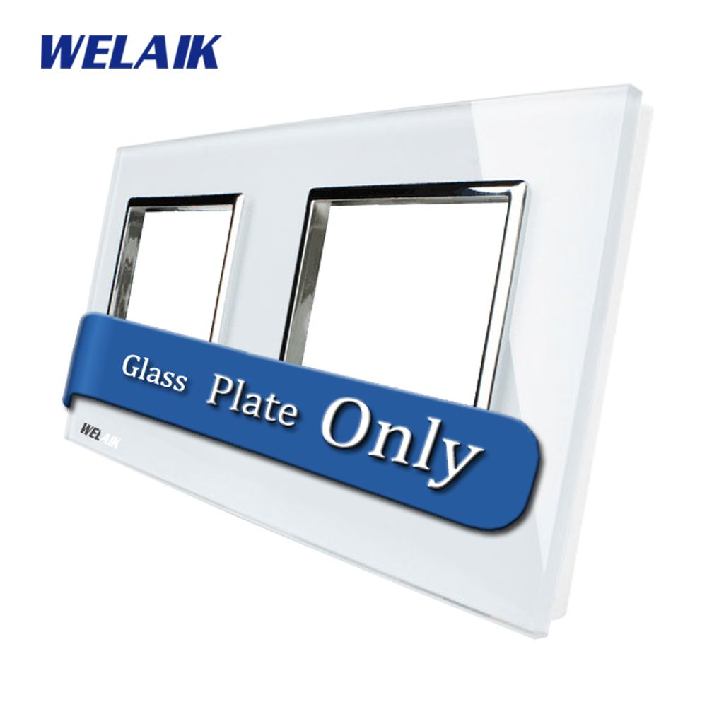 WELAIK Touch Switch DIY Parts Glass Panel Only of Wall Light Switch Black White Crystal Glass Panel Square hole A288W/B1