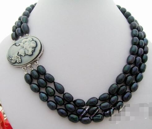 3Strds 10x8mm Black Pearl Necklace>free shipping