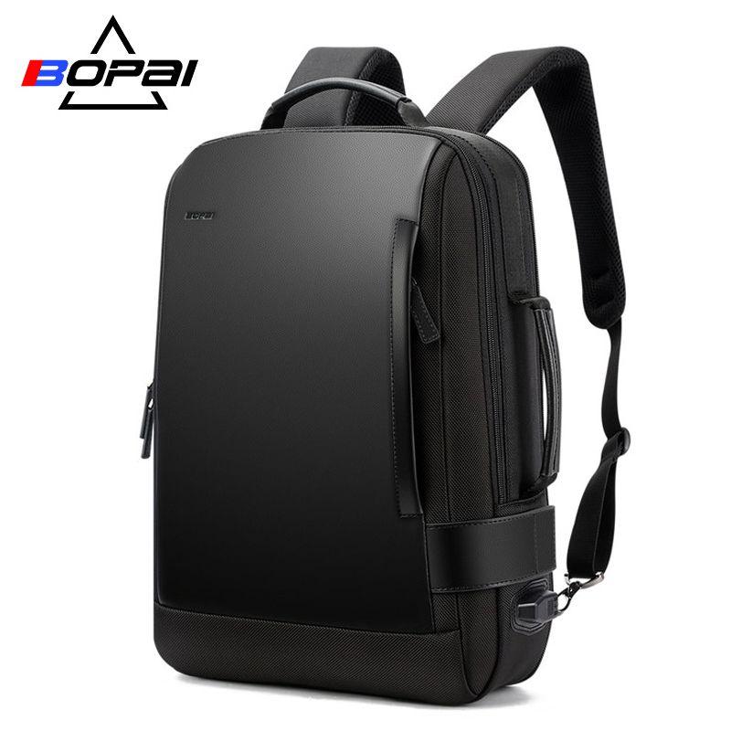 BOPAI Brand Enlarge Backpack USB External Charge 15.6 Inch Laptop Backpack Shoulders Men Anti-theft Waterproof Travel Backpack