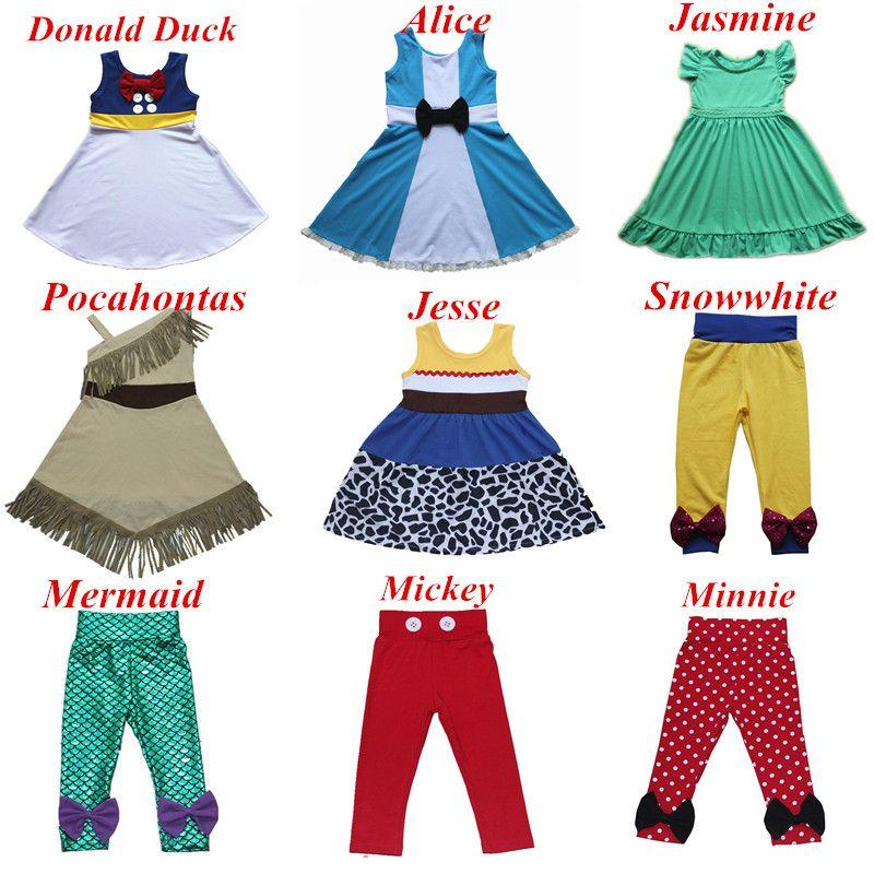 2018 Nouvelles Filles Princesse Robe D'été Rapunzel Jesse Robe Pour Minnie Mickey Neige Blanc Kid Sun Robe Belle Airel Tous Les Jours dres s