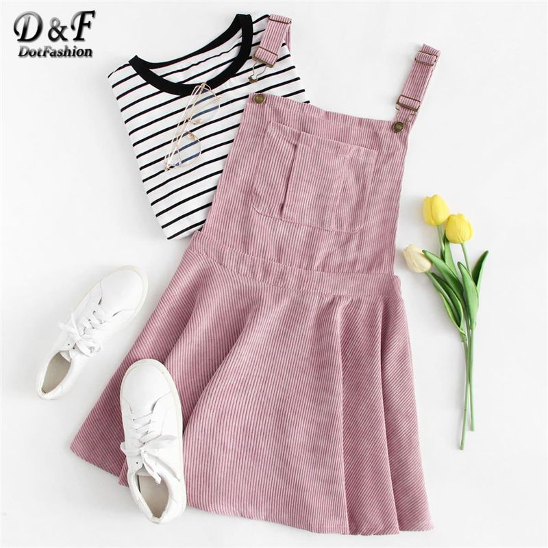 Dotfashion Pink Pocket Front Zip Up Back Corduroy Pinafore Dress Women Clothes Autumn 2019 New Casual Sleeveless Preppy Dress