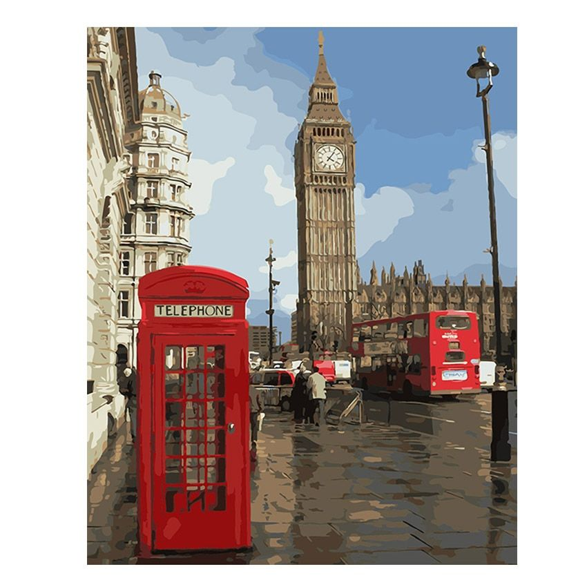WEEN London City Painting By Numbers Modern Big Ben Digital Wall canvas Art booth Coloring by number For Home Wall Artwork Gift