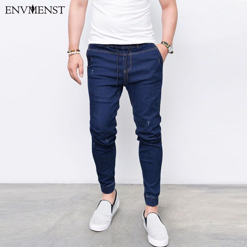 2017 Envmenst Brand Fashion Men's Harem Jeans Washed Feet Shinny Denim Pants Hip Hop <font><b>Sportswear</b></font> Elastic Waist Joggers Pants
