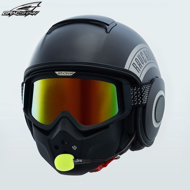 Motorcycle Harley Retro Helmet with Mask goggle Similar Shark Casco Voice Control Bluetooth Headset CapacetesGracshaw G828