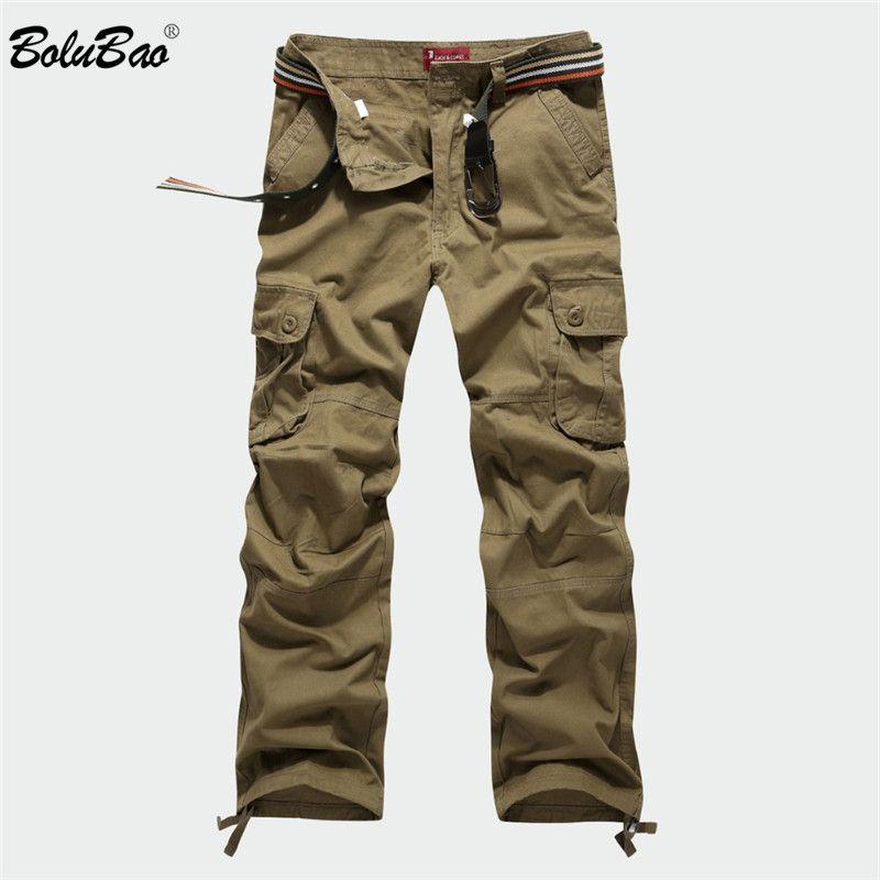 BOLUBAO 2018 New Cargo Pants Men Multi Pockets Pants Military Camouflage Track Pants Trousers Mens Elastic Waist Pant Men