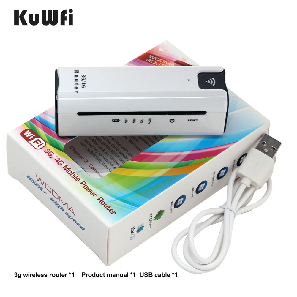 KuWFi Smart Moblie Power bank 3G WiFi Router With Sim Card Slot Portable Mobile WiFi Hotspot Wi Fi Modem 3G wifi Router