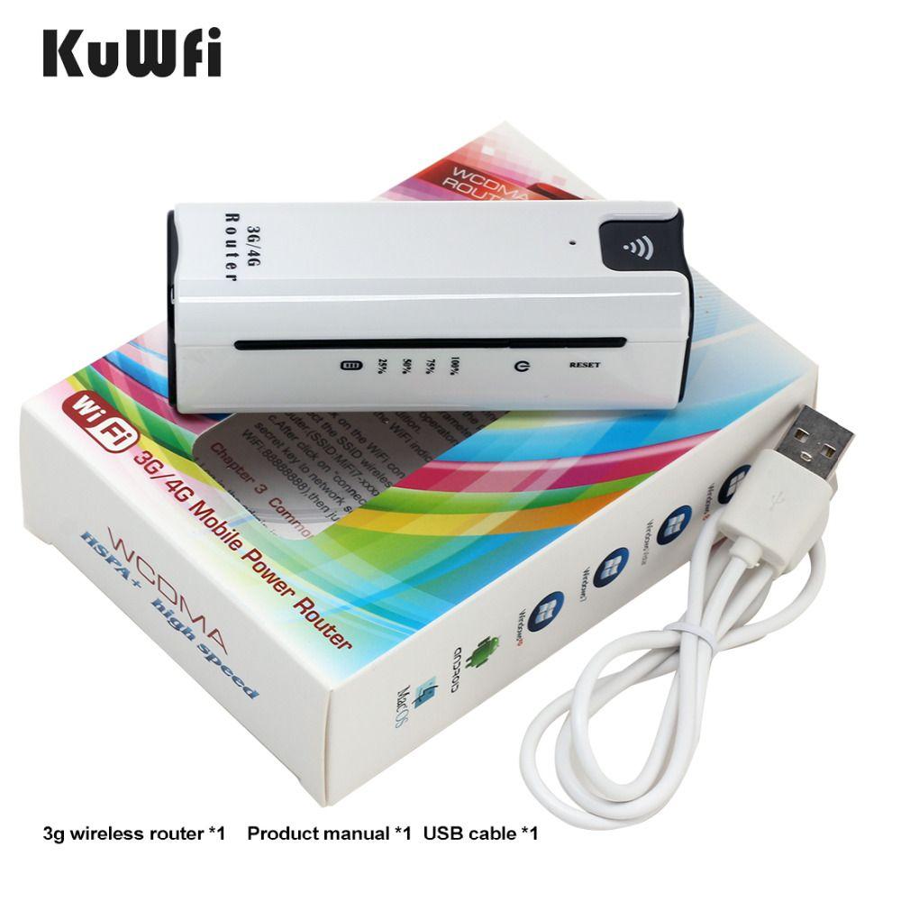 KuWFi Smart Moblie Power bank 3g WiFi Router Mit Sim Karte Slot Tragbare Mobile WiFi Hotspot Wi Fi Modem 3g wifi Router