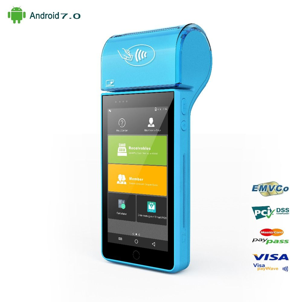 Payment POS Terminal Handheld Printer IC Magnetic Card Reader NFC Barcode Scanner Android 7.0 POS System 5.0