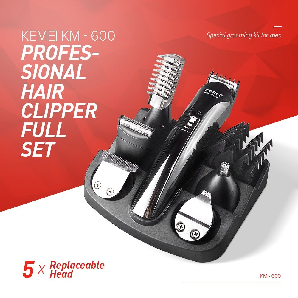Kemei KM - 600 Professional Hair Clipper Electric Shaver Bread Nose Hair Trimmer Cutters Full Set Family Personal <font><b>Care</b></font> XJ