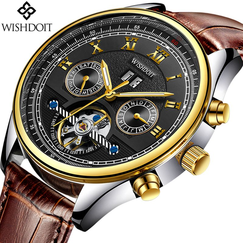 Relogio Masculino WISHDOIT Watch Men Luxury Brand Tourbillon Automatic Mechanical Watches Men Casual Business Waterproof Watch