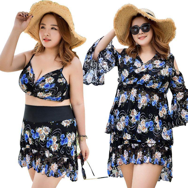 Frauen Badebekleidung Plus Größe Große Brust Push Up Badeanzug Gepolsterte Badeanzüge 3 teile/satz Bikinis Set Schwarz Blau Weiblich Schwimmen tragen