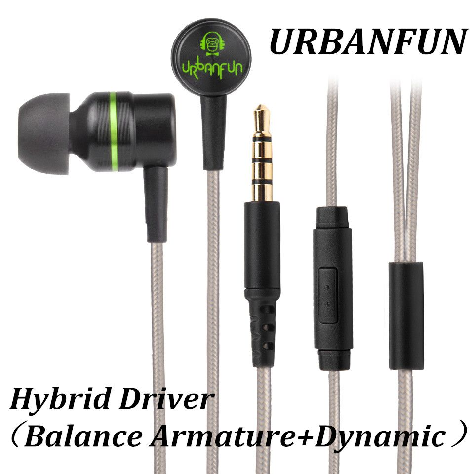 URBANFUN <font><b>Balanced</b></font> armature 3.5mm In Ear Earphone Hybrid Driver 1dd+1ba HiFi Metal Earphone Earplug Headset with Mic earphones