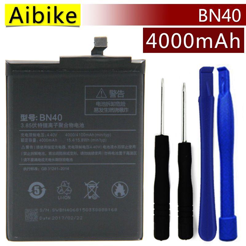 BN40 Aibike Nueva batería original del teléfono móvil Para xiaomi redmi 4 pro Batería 4000 mAh Reemplazo Real Regalo de fijación de herramientas