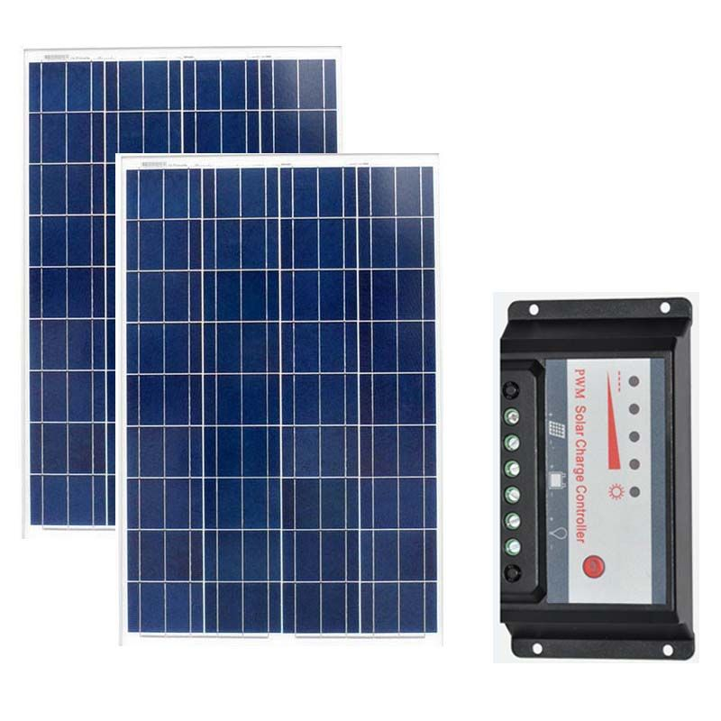 2 Pcs Solar Panels 18v 100W Solar Battery Charger 12v Solar Energy Board 200W Solar Charge Controller 12v/24v 20a Camp Caravan