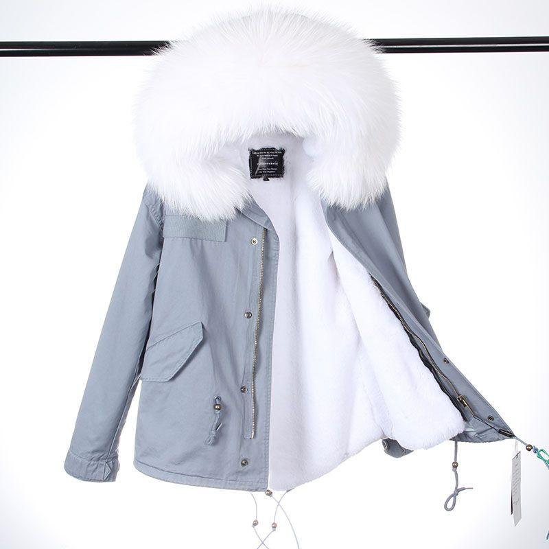 2018 New Fashion Women Winter Pink Fur Coat Short Long Faux Fur Liner Lady MR Style Real Raccoon Collar Fur Jacket Top brand