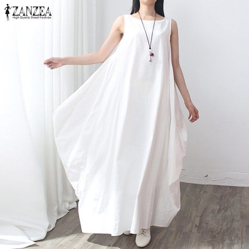 ZANZEA Summer Dress 2018 Women Sleeveless O Neck Sexy Dress Cotton Linen Long Maxi Dresses Casual Loose Retro Vestidos Plus Size