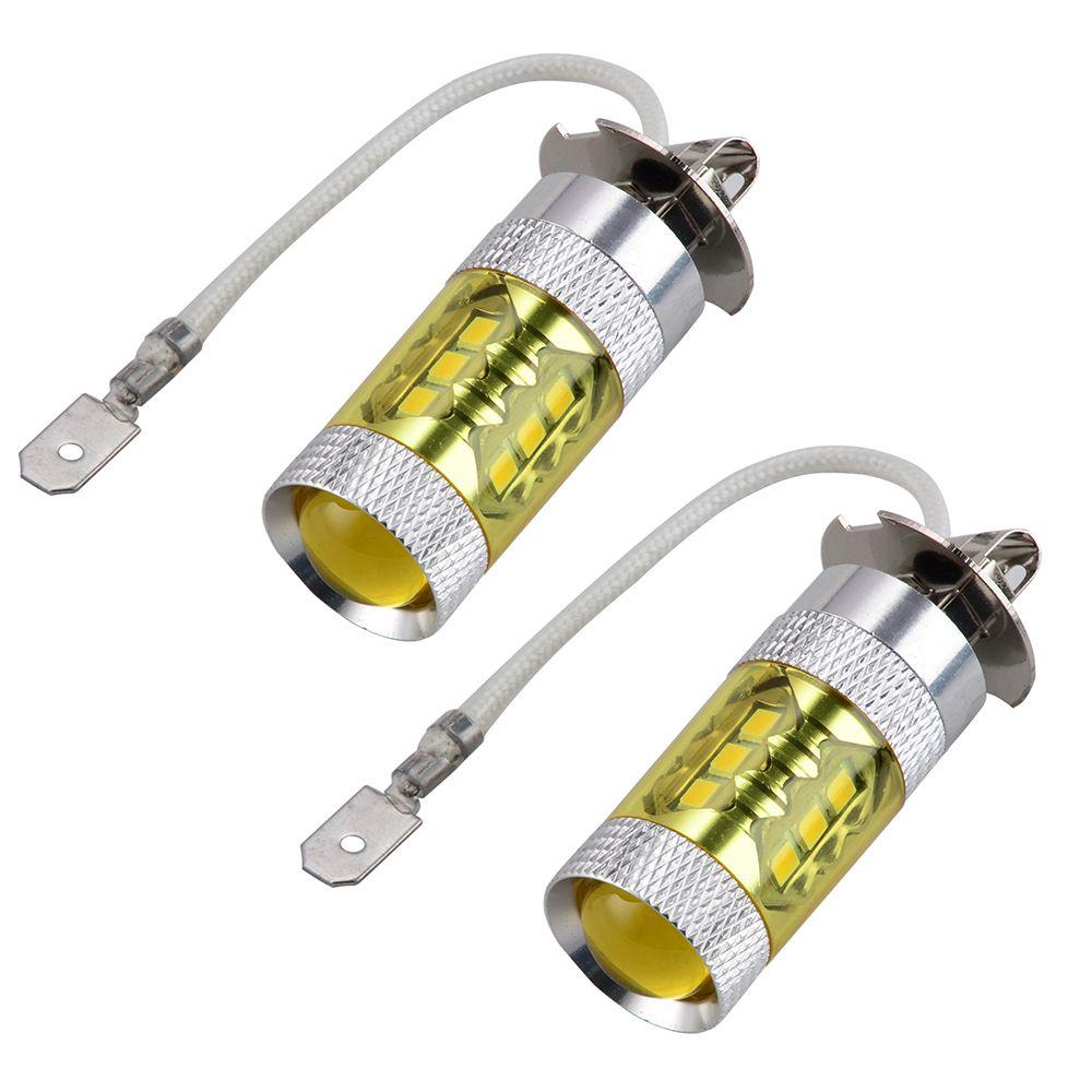 2 шт. H3 80 Вт 3000 К желтый светодиод Противотуманные дальнего света DRL лампы для Mazda 6 Millenia protege Dodge intrepid Viper Mitsubishi Lancer