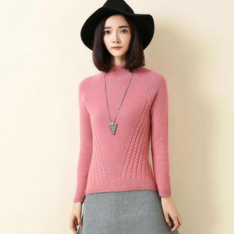 winter new sweater semi - high collar 100% cashmere sweater women thick long sleeves pullover female knitted pullover