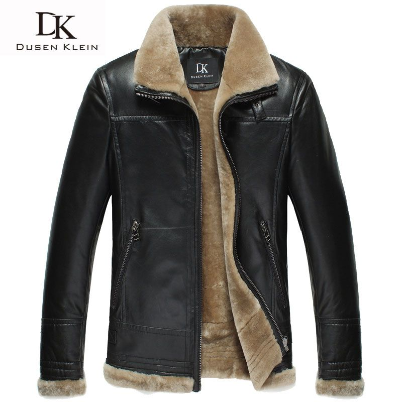 Brand winter leather jacket men Luxury wool insdie Genuine sheepskin coats Black/Brown Designer jacket 13Q1358