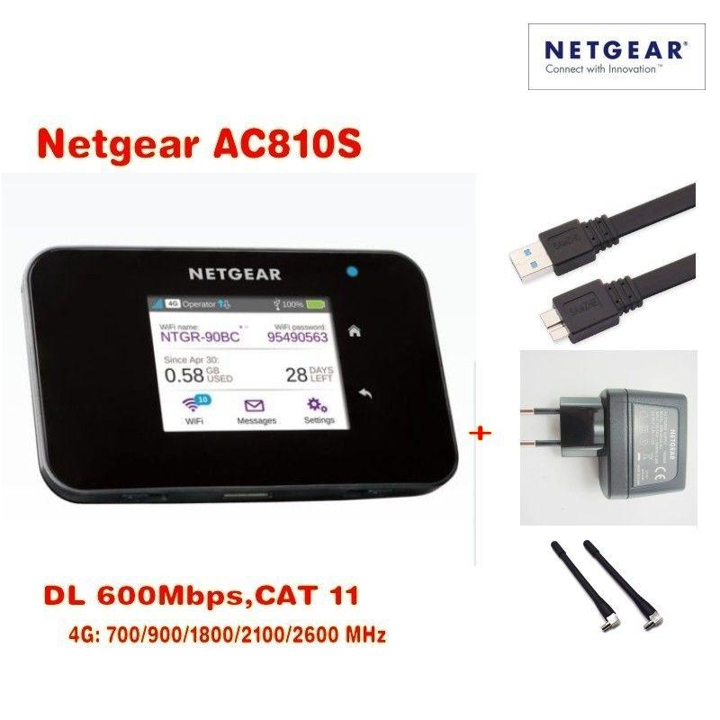 Original Entriegelt touchscreen Netgear Aircard AC810S 810 S Cat11 600 Mbps 4GX Erweiterte III 4G LTE Mobilen Hotspot Plus 2 stücke antenn