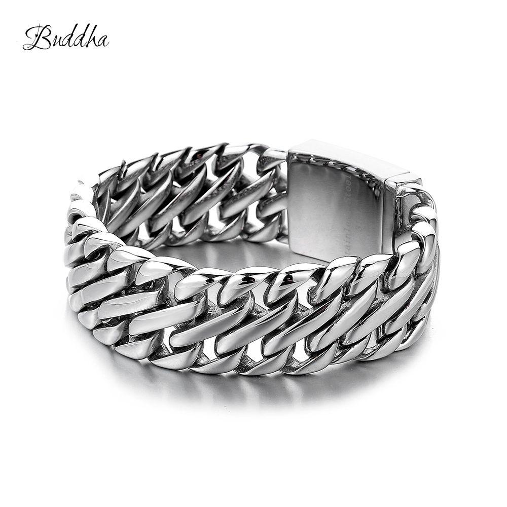Doppel Curb Kubanischen Kette Armband Herren 316L Edelstahl Armband Armreif Silber Ton 23mm Buddha Armband mit Logo