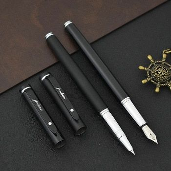 JINHAO Brand 101 Mteal Fountain Pen Black Frosted Ink Canetas For Calligraphy Writing Gift Office School Supplies Stationery