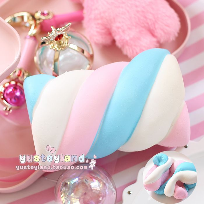 10CM Colorful Cotton Candy Squishy Slow Rising Jumbo Kawaii Cute Ice Cream Scented Soft Squeeze Charms Bread Cake Kid Toys Gift