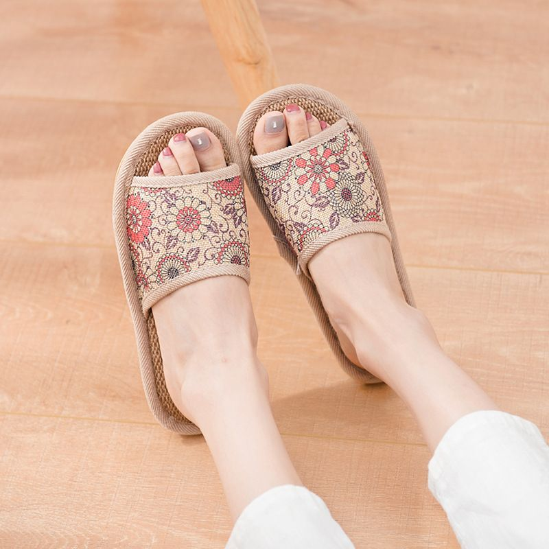 C-Fantai cool slippers home summer cotton and linen indoor floor large base of household linen slippers soft bottom
