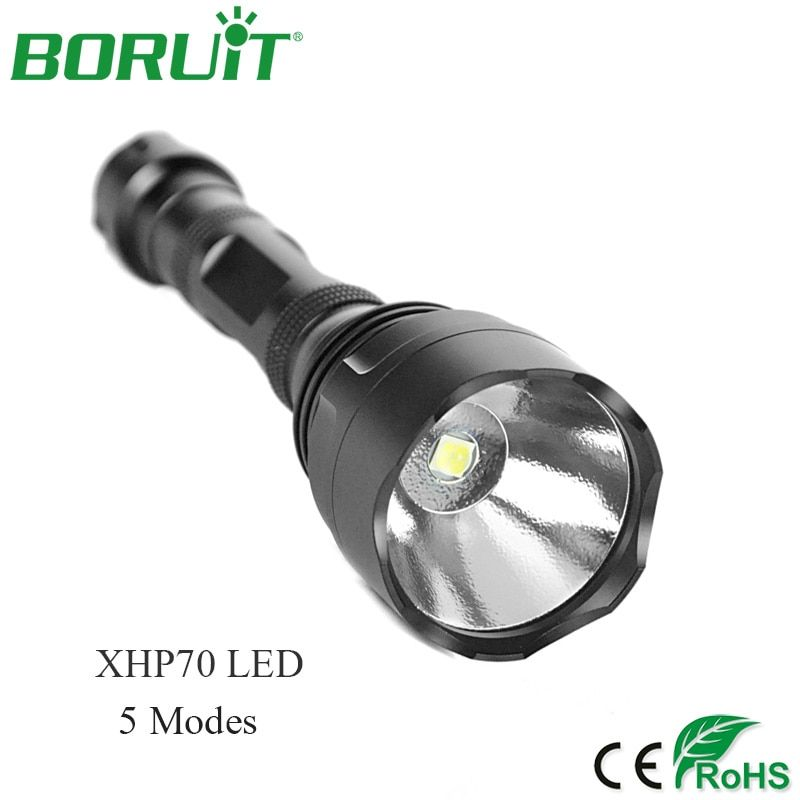 BORUiT High Power 30W XHP70 LED Flashlight 3000lm 5 Modes Portable Tactical Torch Light Waterproof Camping Hunting Lantern Lamp