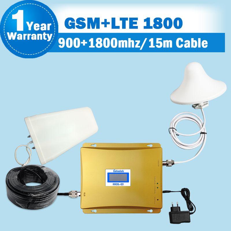 GSM 900 4g LTE 1800 (FDD Bande 3) double Bande Répéteur LCD Affichage 65dB Gain GSM 900 DCS 1800 mhz Cellulaire Mobile Signal Booster S43