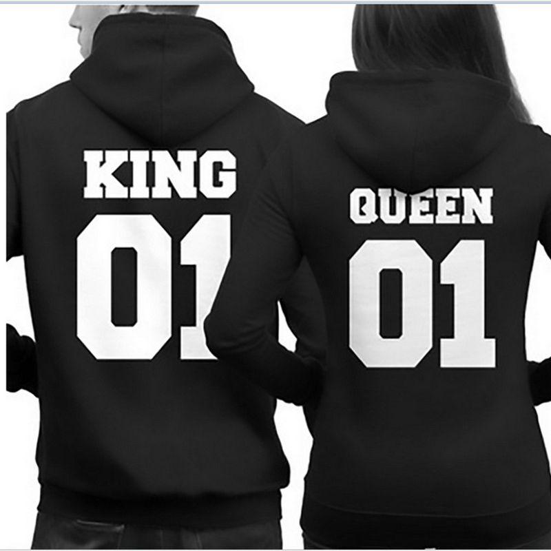 Новый зима-осень 2017 пара Толстовки модные Повседневное одежда с длинным рукавом King Queen печатных Для мужчин и Для женщин Crewneck пуловер Кофты
