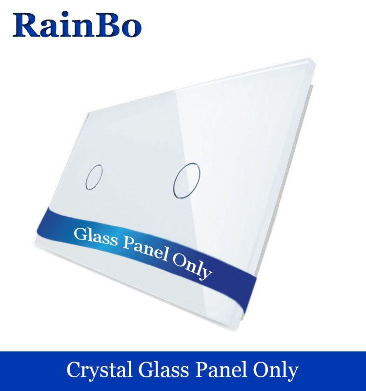 RainBo Livraison gratuite De Luxe Panneau Verre Cristal 2 Cadres Tactile 2 gang Interrupteur Mural Panneau Standard de L'UE pour DIY Accessoires A2911W/B1