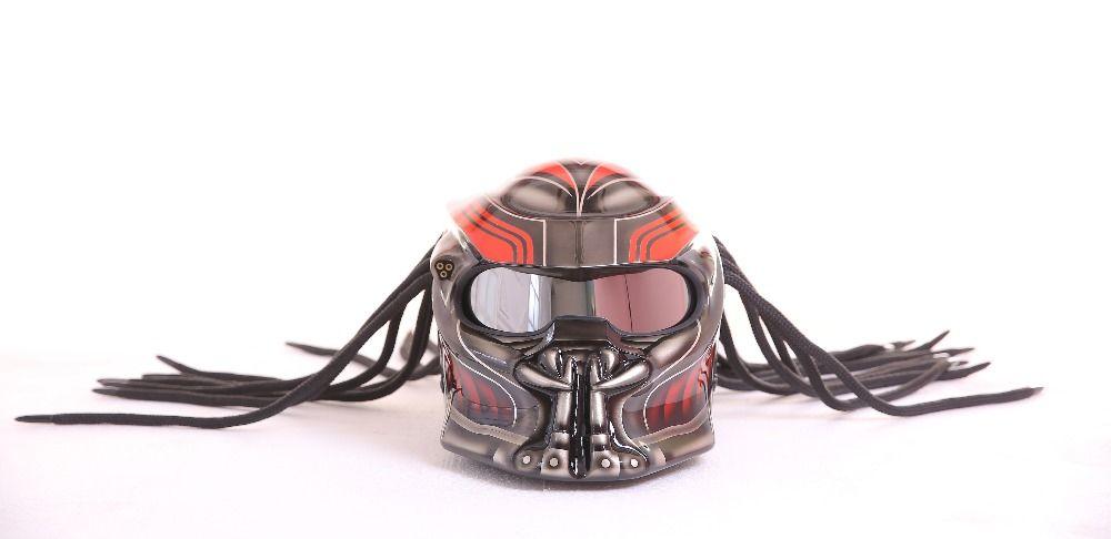 2017 New Masei Predators mask carbon fiber motorcycle helmet Full face iron man moto helmet Safety DOT High quality red visor