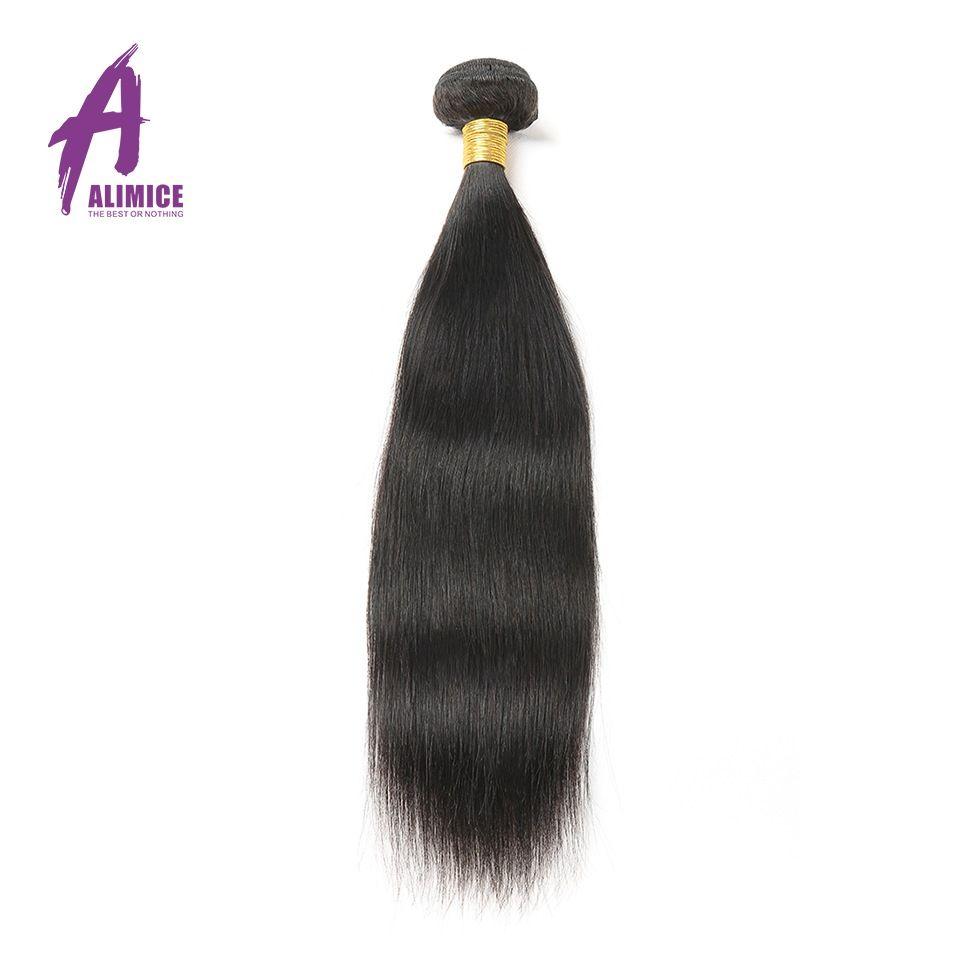 Alimice pelo peruano cabello liso 1 unidades color natural 100% Cabello humano Lía tejer 8-30 pulgadas pelo no Remy