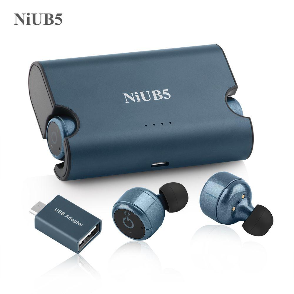 Niub5 x2 mini bluetooth écouteur 4.2 appel de la voiture stéréo écouteurs casque vrai sans fil jumeaux écouteurs intégré puissance banque pour téléphone