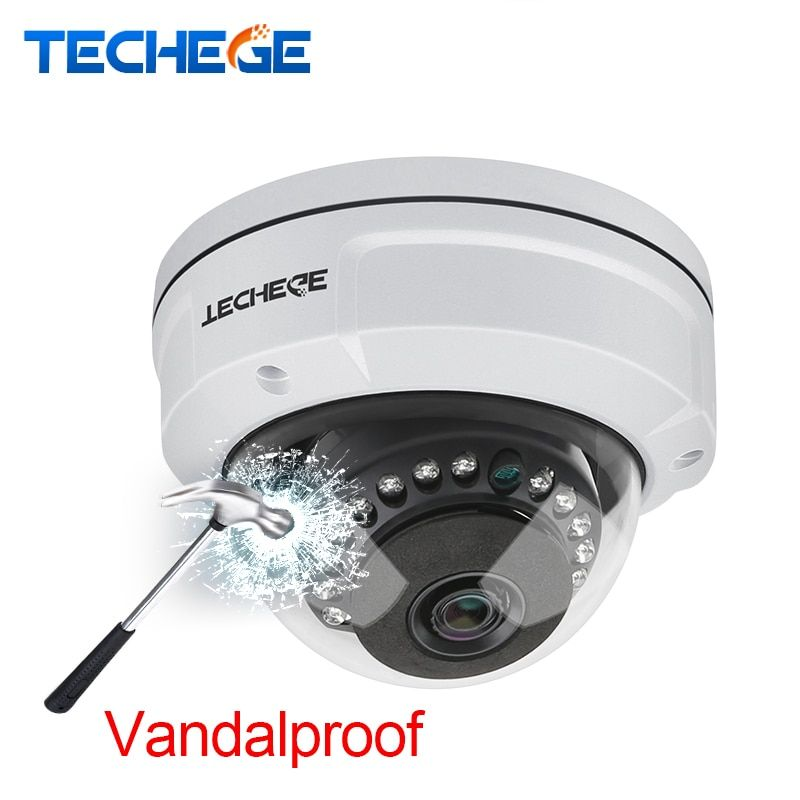 Techege H.265 5MP 2592*1944 Vandalproof IP Camera Surveillance Video Dome Camera 5MP 3MP 2MP CCTV Camera DC 12V 48V PoE Onvif