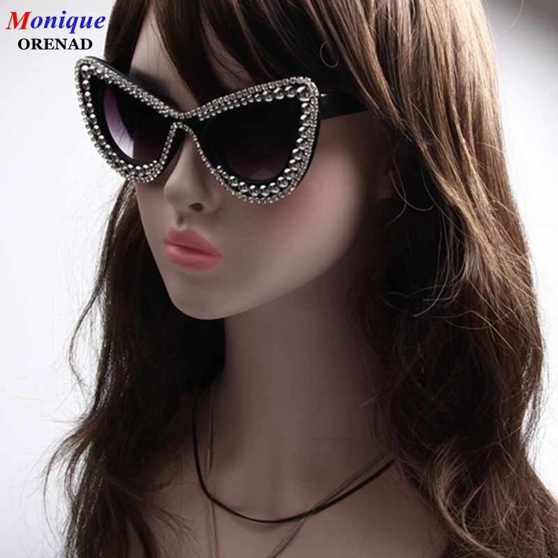 Fashion Women Cat Eye Sunglasses silver Beads Decoration Retro Sunglasses <font><b>Bling</b></font> Rhinestones Men Sun Glasses Vintage Shade