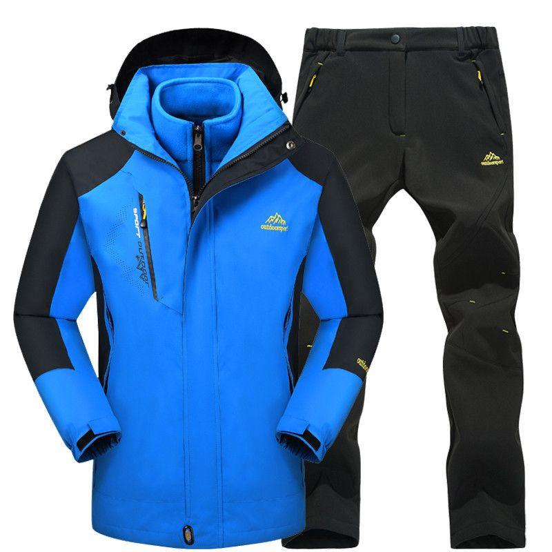 2018 wandern Jacken Männer Wasserdicht Winddicht Outdoor Fleece Warme Camping Angeln Jacken und Hosen Thermische Skifahren Kleidung Set