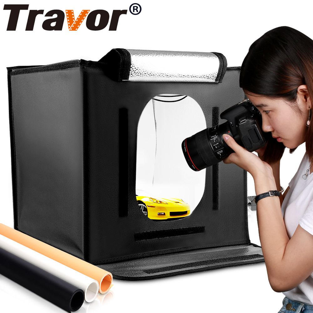 Travor F40 LED <font><b>Folding</b></font> Photo Studio Softbox Lightbox 40*40 light Tent with white yellow black background Accessories box light
