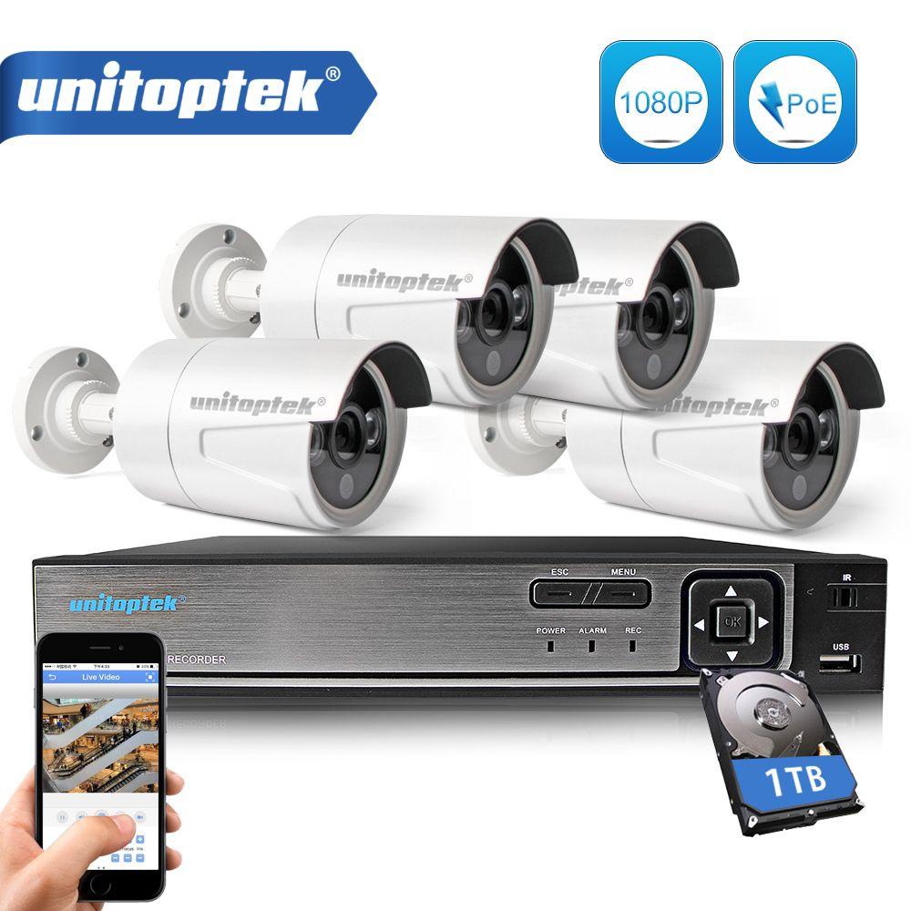 Plug And Play 4CH POE NVR Kit CCTV System 1080P 2MP IP Camera Outdoor IP66 Waterproof Security Video Surveillance Camera Set P2P