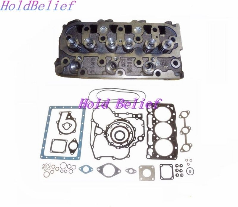 New Complete Cylinder Head + Full Gasket Kit For Kubota D1105 Engine