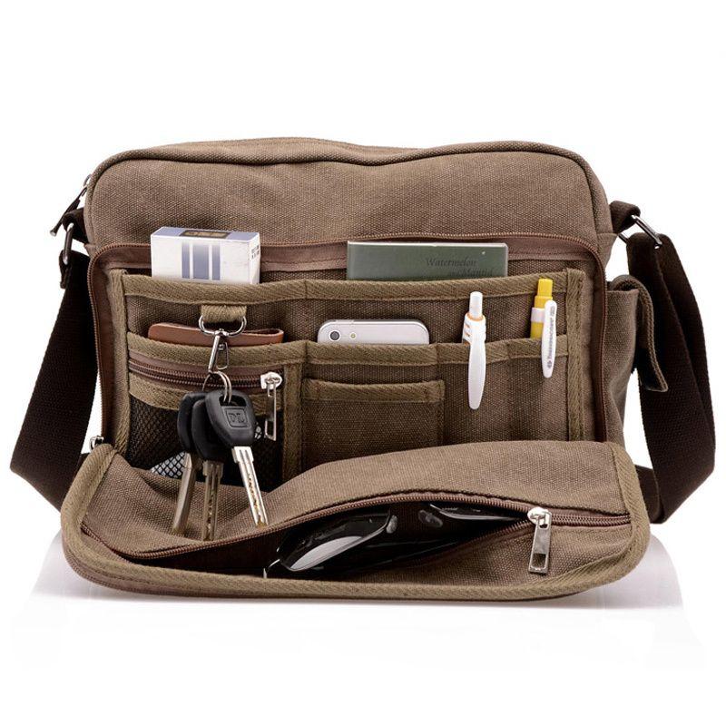 Hot! High Quality <font><b>Multifunction</b></font> Men Canvas Bag Casual Travel Bolsa Masculina Men's Crossbody Bag Men Messenger Bags