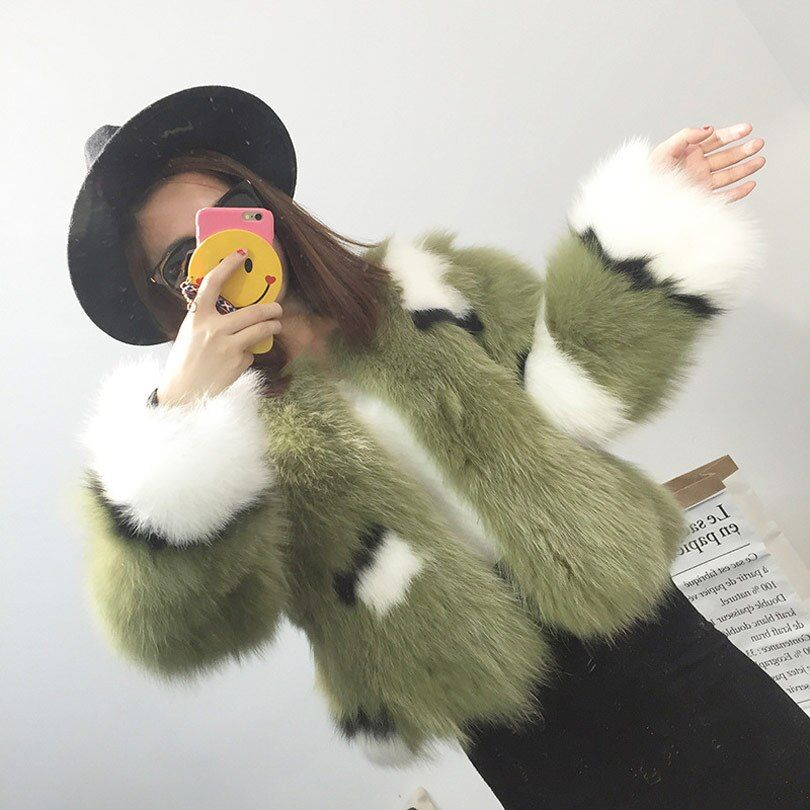 Real Fox Fur Coat For Women 2017 New Casual Winter Slim Natural White Blue Fox Fur Jacket Outerwear Patchwork Thick Parka Coats